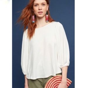 Anthropologie Eri + Ali White Puff Sleeve